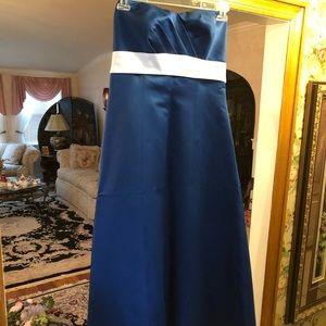 Cobalt Blue Satin Strapless Bridesmaid Dress